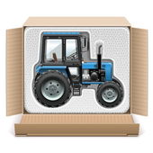Vector Toy Tractor in Box — Stock Vector