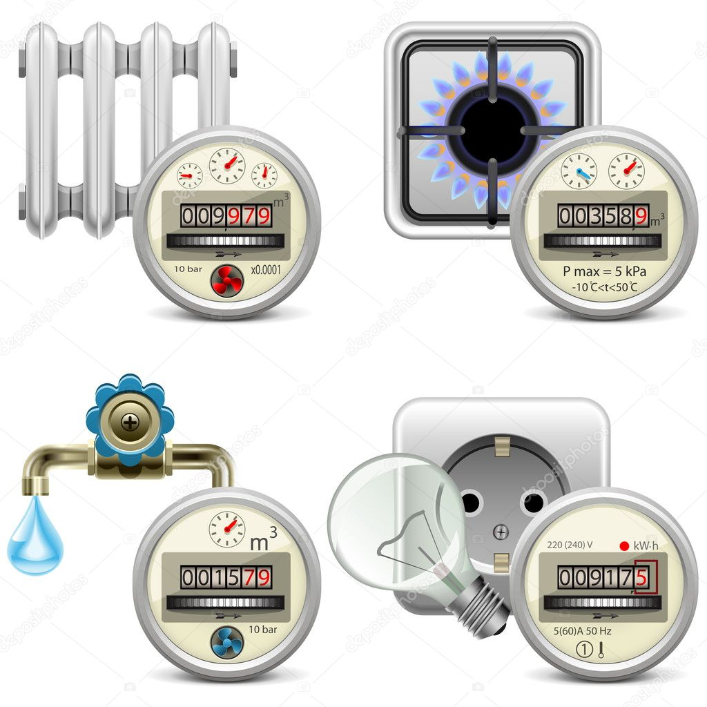 Meter Icon Vector Meter Icons Isolated on