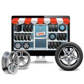 Vector Tire Shop Concept — Stock Vector