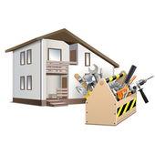 Boîte à outils vectoriels et maison — Vecteur