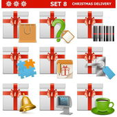 Vector Christmas Delivery Set 8 — Stock Vector