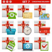Vector Christmas Delivery Set 7 — Stock Vector