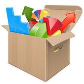 Vector Carton Box with Statistics — Stock Vector