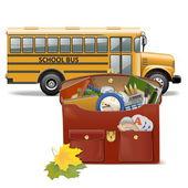 Vector Schoolbag and Bus — Stock Vector