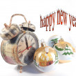 Clock hand made, clock shows the time of celebrating the New Year, Christmas, Christmas ornaments — Stock Photo