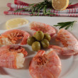 Stock Photo: Shrimp with lemon and olives