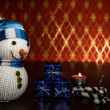 Snowman and gifts, new year, christmas — Stock Photo