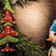 Snowman and christmas tree, new year, christmas — Stock Photo