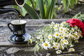 Chá verde no jardim — Fotografia Stock