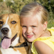 Little girl with a dog — Stock Photo