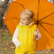 Girl with umbrella in autumn park — Stock Photo