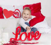Lover boy smile in Valentine's Day — Foto Stock