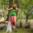 Girl on the slackline — Stock Photo