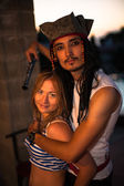 A real pirate and sailor couple in love — Stock Photo