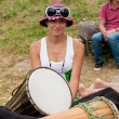Cute girl with drums — Stock fotografie #30876147