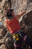 Girl rock climber — Stock Photo
