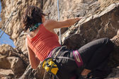 Girl rock climber — Stock Photo