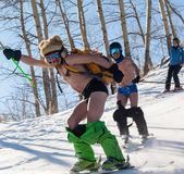 Skiing and snowboarding in style Hippie - naked — Stock Photo