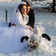 Stock Photo: The wedding of two lovers, winter, ice skating, smile