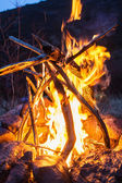 Overnight in tents near a fire — Stock Photo