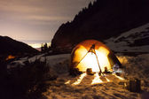 Night camping under the stars Mountains — Stock Photo