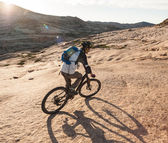 Biking for a wonderful wonderful stone for - unearthly landscape — Stock Photo