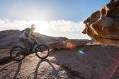 Biking for a wonderful wonderful stone for - unearthly landscape — Foto de Stock