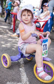 Child on a bicycle involved in the children's competitions — Stock Photo