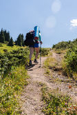 People go to a mountain hike on a beautiful summer day. — Stock Photo