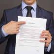 The man shows on a contract — Stock Photo