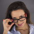 Portrait of beautiful business woman wearing glasses — Stock Photo