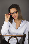 A woman sitting in her business clothes — Stock Photo