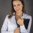Beautiful young smiling businesswoman — Stock Photo