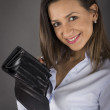 Woman shows empty wallet — Stock Photo
