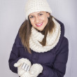 Happy teenager girl in winter hat  — Stock Photo