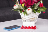 Mobile and roses — Stock Photo