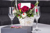Red Roses In Basket — Stock Photo