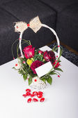 Red roses in the basket with a greeting card — Stock Photo