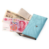 Japanese yen in blue purse — Stock Photo