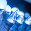 Some led lamps blue light science and technology background — Stock Photo