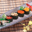 Japanese sea urchin sushi sashimi set mix photo seafood — ストック写真