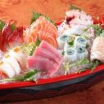Japanese sashimi boat set — Stock Photo