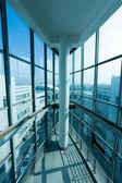Interior inside of glass building — Stock Photo