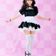 Japanese cute lolita maid in pink background — Photo