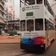 Movement of two-storeyed trams in Hong Kong. — Stock Video