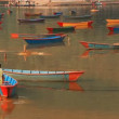 Multicolored fishing boats on Feva lake. — Stock Video