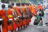 Monks Walking Luang Prabang — Stock Photo