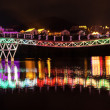 Hainan Bridge Multicolored Lights — Stock Photo