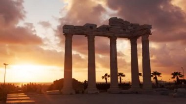 Ancient Ruins of Roman Empire Sunset — Stock Video