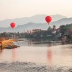 Hot Air Balloons Sunrise Laos — Stock Photo #36681581